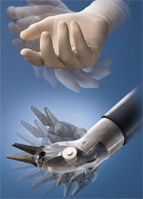 The robotic arm mimics human wrist movements
